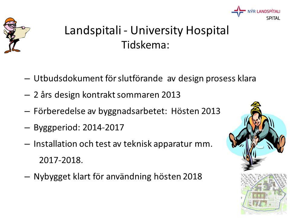 Landspitali - University Hospital Tidskema: – Utbudsdokument för slutförande av design prosess klara – 2 års design kontrakt sommaren 2013 – Förberede
