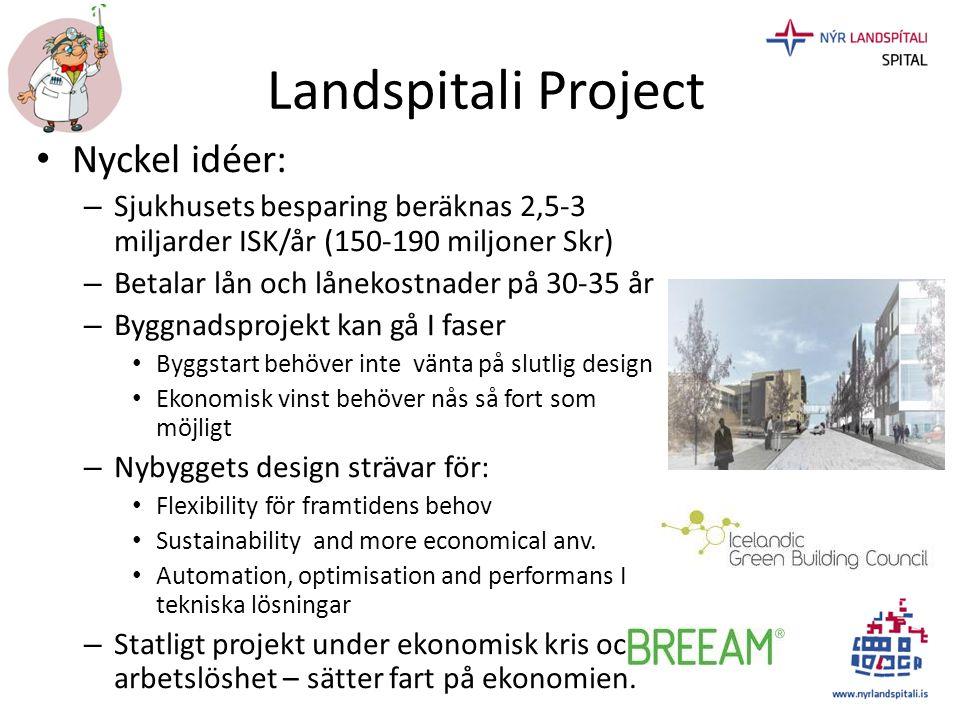 Landspitali Project • Nyckel idéer: – Sjukhusets besparing beräknas 2,5-3 miljarder ISK/år (150-190 miljoner Skr) – Betalar lån och lånekostnader på 3