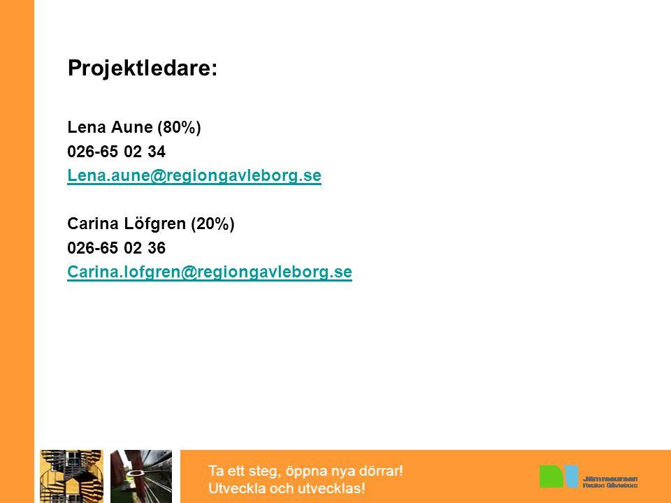 Ta ett steg, öppna nya dörrar! Utveckla och utvecklas! Projektledare: Lena Aune (80%) 026-65 02 34 Lena.aune@regiongavleborg.se Carina Löfgren (20%) 0