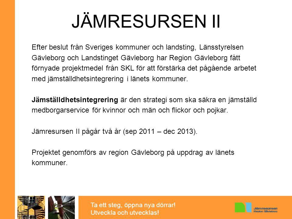 Ta ett steg, öppna nya dörrar! Utveckla och utvecklas! JÄMRESURSEN II Efter beslut från Sveriges kommuner och landsting, Länsstyrelsen Gävleborg och L