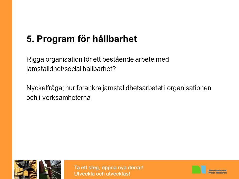 Ta ett steg, öppna nya dörrar! Utveckla och utvecklas! 5. Program för hållbarhet Rigga organisation för ett bestående arbete med jämställdhet/social h