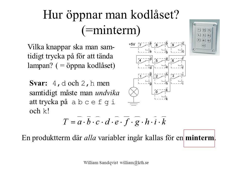 William Sandqvist william@kth.se Hur öppnar man kodlåset? (=minterm) Vilka knappar ska man sam- tidigt trycka på för att tända lampan? ( = öppna kodlå