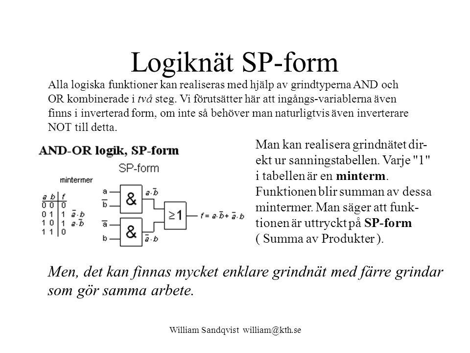 William Sandqvist william@kth.se Logiknät SP-form Alla logiska funktioner kan realiseras med hjälp av grindtyperna AND och OR kombinerade i två steg.