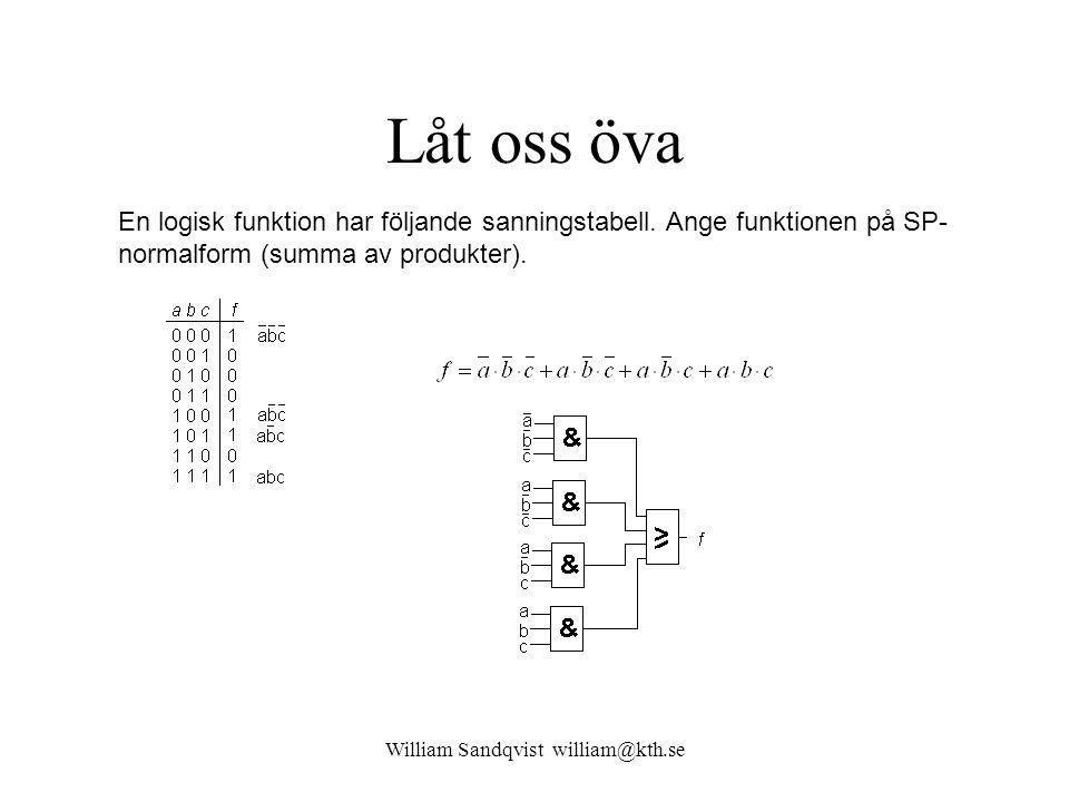 William Sandqvist william@kth.se Låt oss öva En logisk funktion har följande sanningstabell. Ange funktionen på SP- normalform (summa av produkter).