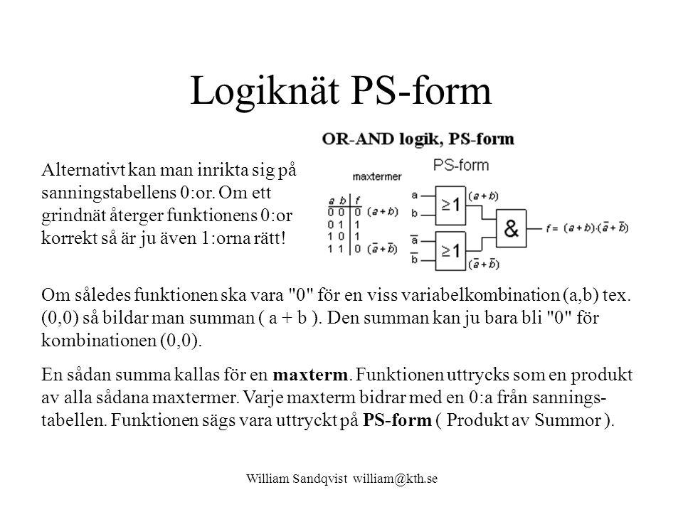 William Sandqvist william@kth.se Logiknät PS-form Om således funktionen ska vara