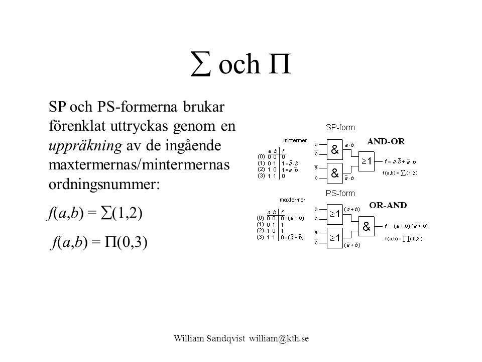 William Sandqvist william@kth.se  och  SP och PS-formerna brukar förenklat uttryckas genom en uppräkning av de ingående maxtermernas/mintermernas or
