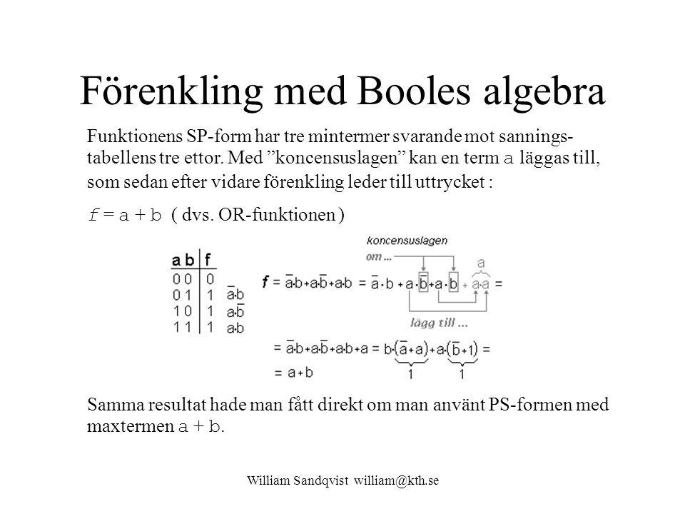 """William Sandqvist william@kth.se Förenkling med Booles algebra Funktionens SP-form har tre mintermer svarande mot sannings- tabellens tre ettor. Med """""""