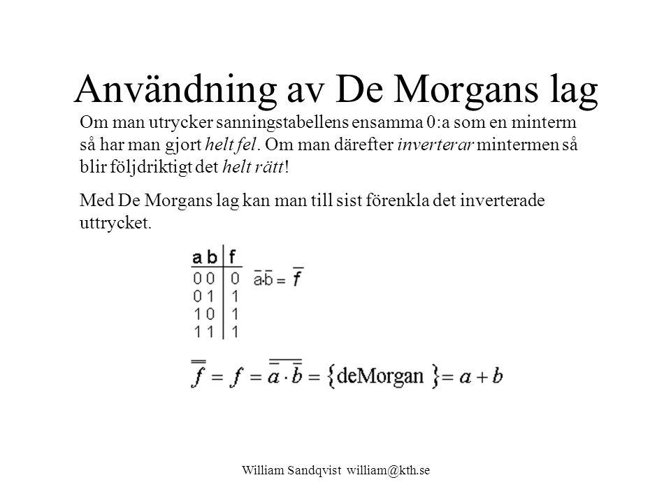William Sandqvist william@kth.se Användning av De Morgans lag Om man utrycker sanningstabellens ensamma 0:a som en minterm så har man gjort helt fel.
