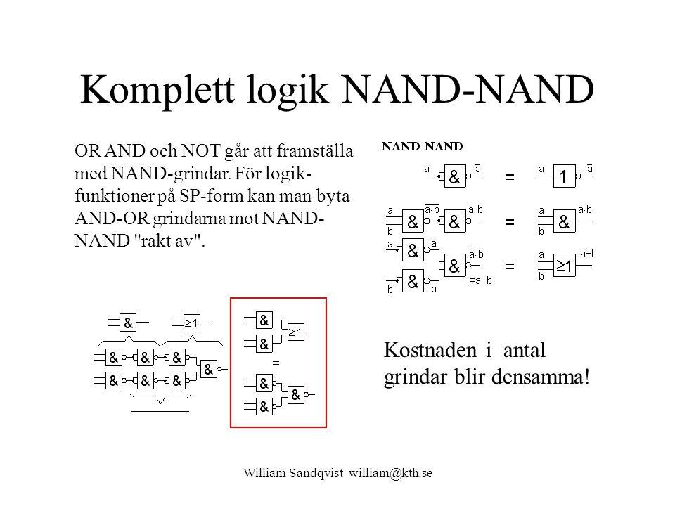 William Sandqvist william@kth.se Komplett logik NAND-NAND OR AND och NOT går att framställa med NAND-grindar. För logik- funktioner på SP-form kan man