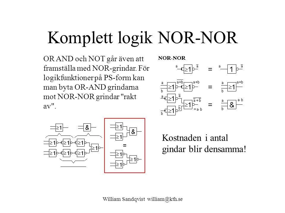 William Sandqvist william@kth.se Komplett logik NOR-NOR OR AND och NOT går även att framställa med NOR-grindar. För logikfunktioner på PS-form kan man