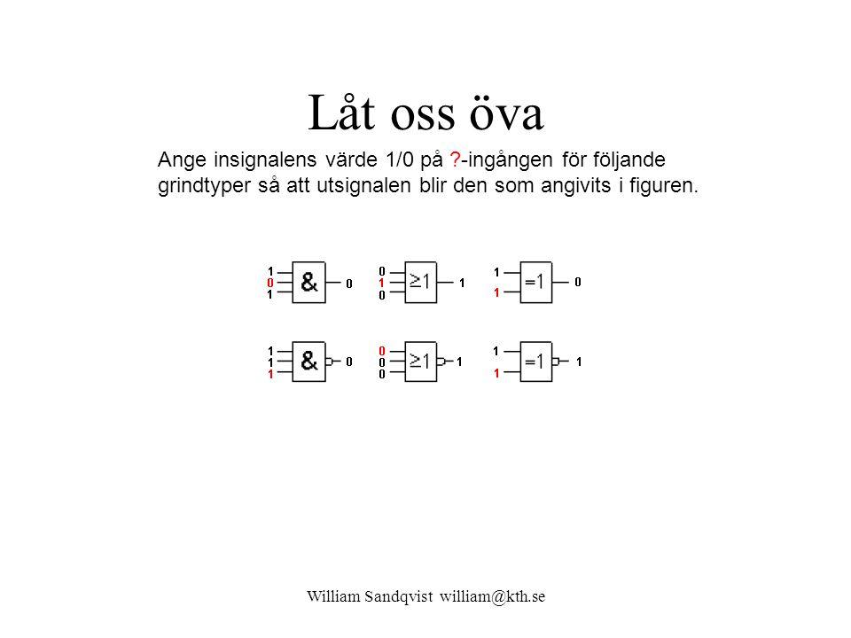 William Sandqvist william@kth.se Låt oss öva Ange insignalens värde 1/0 på ?-ingången för följande grindtyper så att utsignalen blir den som angivits