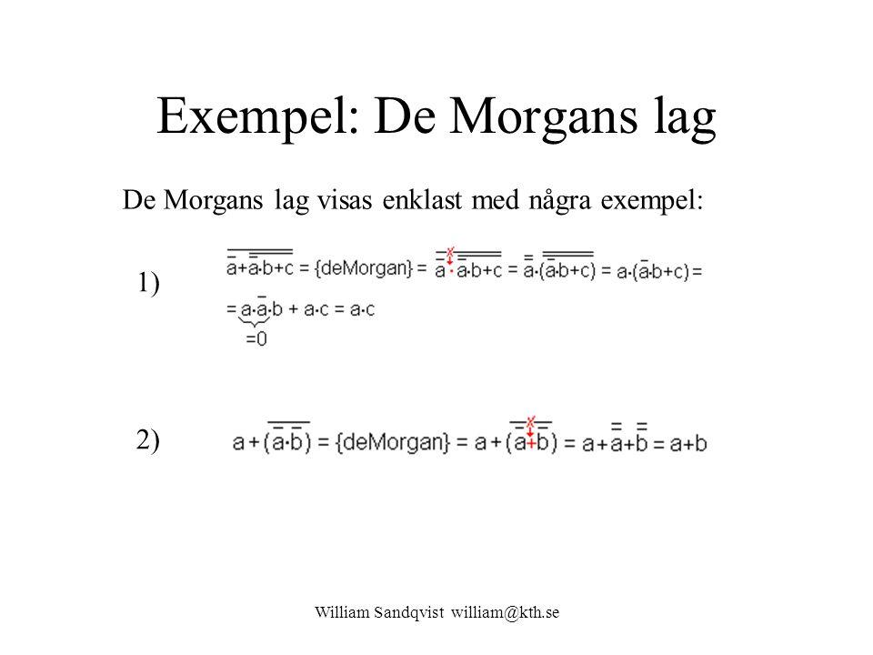 William Sandqvist william@kth.se Exempel: De Morgans lag De Morgans lag visas enklast med några exempel: 1) 2)