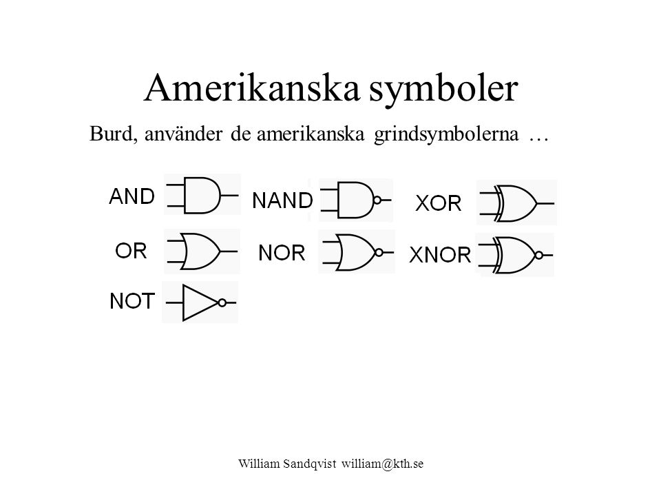 William Sandqvist william@kth.se Amerikanska symboler Burd, använder de amerikanska grindsymbolerna …