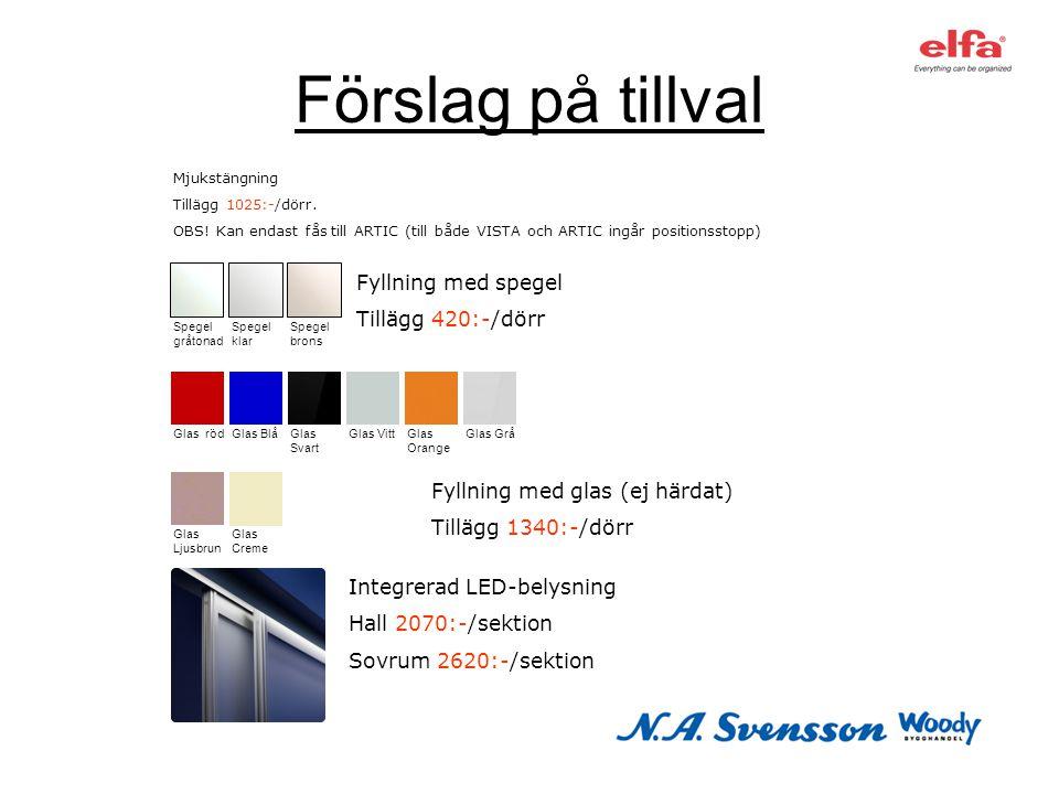 Förslag på tillval Fyllning med spegel Tillägg 420:-/dörr Integrerad LED-belysning Hall 2070:-/sektion Sovrum 2620:-/sektion Spegel gråtonad Spegel kl