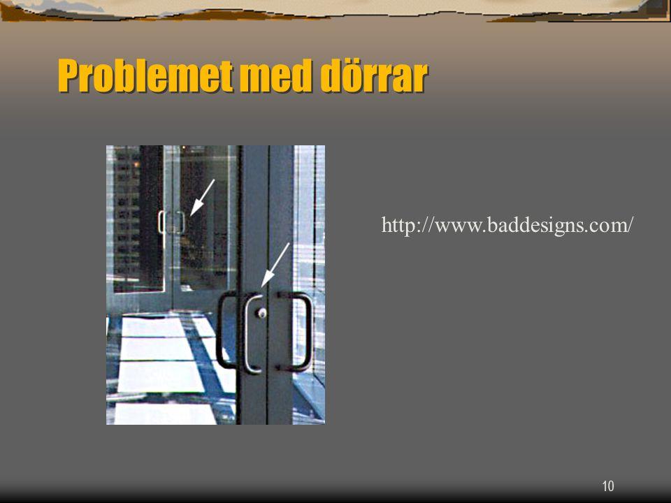 10 Problemet med dörrar http://www.baddesigns.com/
