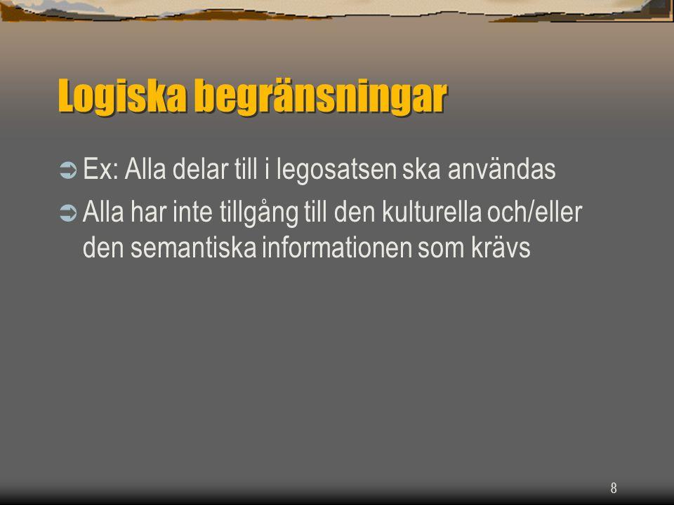 8 Logiska begränsningar  Ex: Alla delar till i legosatsen ska användas  Alla har inte tillgång till den kulturella och/eller den semantiska informationen som krävs