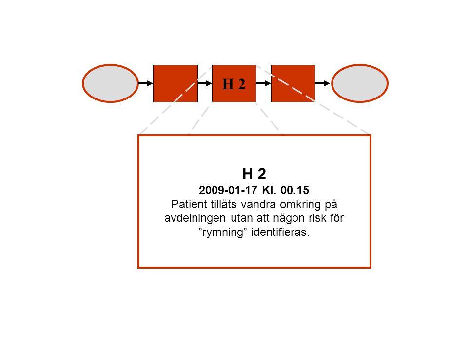 """H 2 2009-01-17 Kl. 00.15 Patient tillåts vandra omkring på avdelningen utan att någon risk för """"rymning"""" identifieras."""