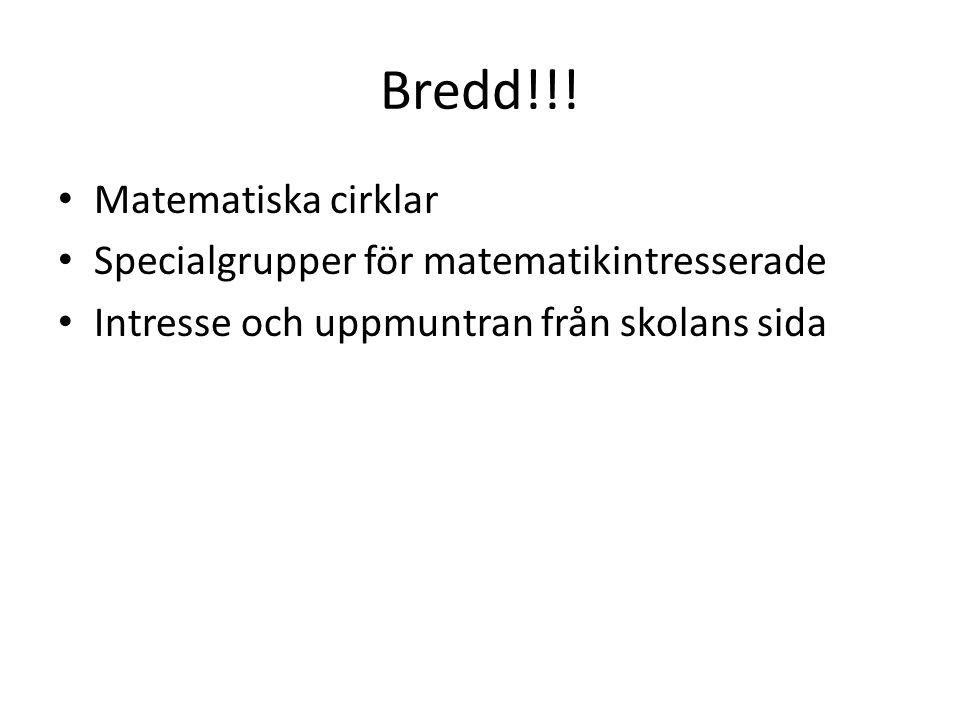 Bredd!!! • Matematiska cirklar • Specialgrupper för matematikintresserade • Intresse och uppmuntran från skolans sida