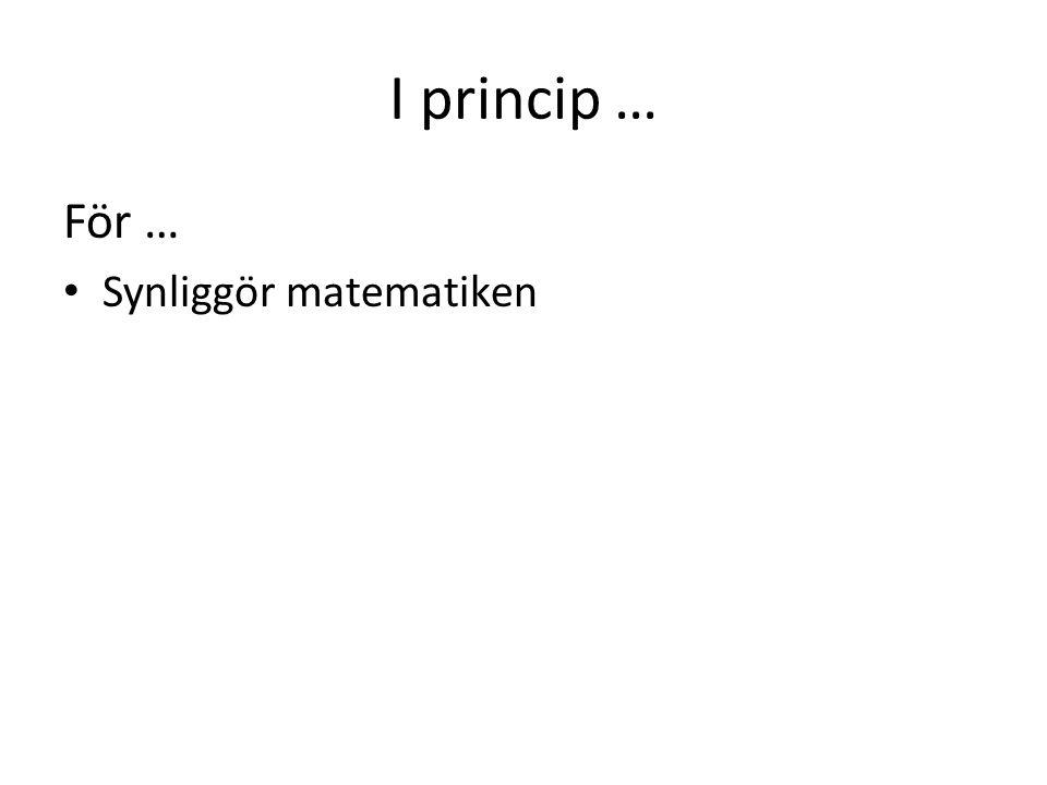 I princip … För … • Synliggör matematiken • Ger möjlighet att lära sig spännande matematik