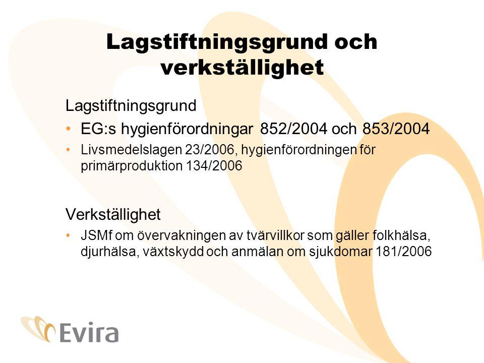 Lagstiftningsgrund och verkställighet Lagstiftningsgrund •EG:s hygienförordningar 852/2004 och 853/2004 •Livsmedelslagen 23/2006, hygienförordningen för primärproduktion 134/2006 Verkställighet •JSMf om övervakningen av tvärvillkor som gäller folkhälsa, djurhälsa, växtskydd och anmälan om sjukdomar 181/2006