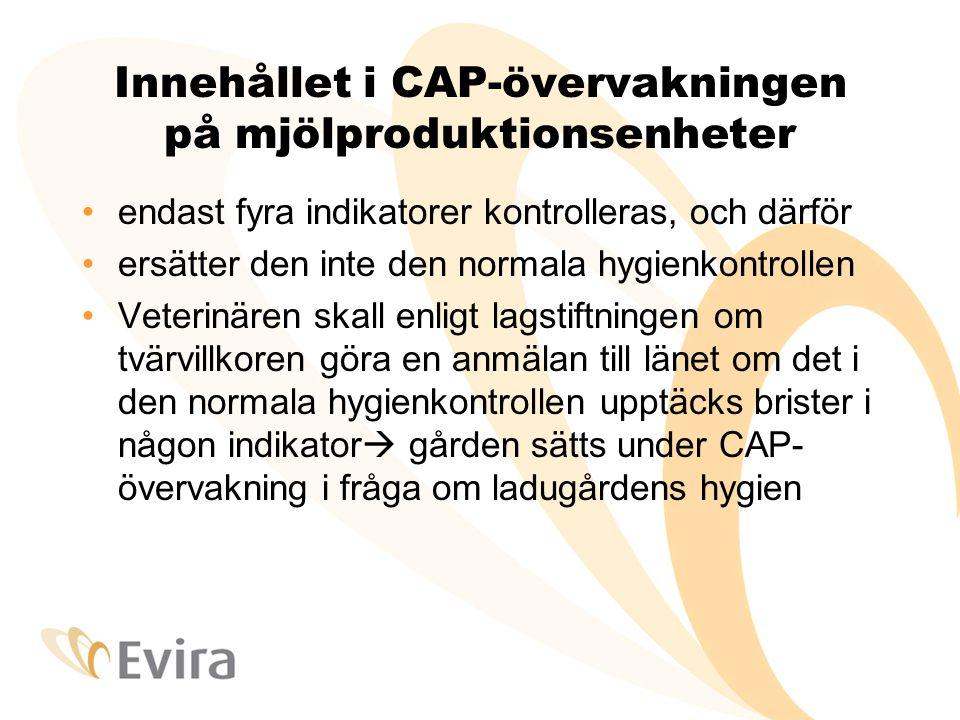Innehållet i CAP-övervakningen på mjölproduktionsenheter •endast fyra indikatorer kontrolleras, och därför •ersätter den inte den normala hygienkontrollen •Veterinären skall enligt lagstiftningen om tvärvillkoren göra en anmälan till länet om det i den normala hygienkontrollen upptäcks brister i någon indikator  gården sätts under CAP- övervakning i fråga om ladugårdens hygien