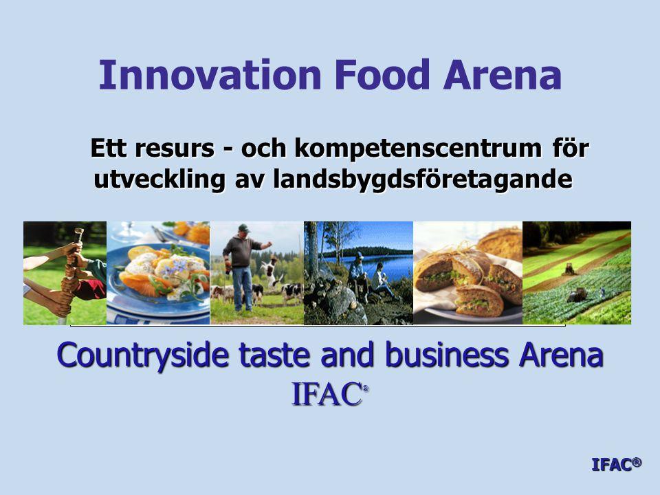IFAC ® - mål och syfte - Positiv utveckling av befintliga företag på landsbygden - Fler nya företag – nya branscher - Fler nya entreprenörer- unga, kvinnor och nya svenskar - Ökad samverkan mellan producenter och marknadens parter ( hela kedjans aktörer ) - Vara en regional och nationell mötesplats för producenter, grossister, branscher och näringsliv – där människor grossister, branscher och näringsliv – där människor med olika yrkeserfarenheter, branschkunskaper och med olika yrkeserfarenheter, branschkunskaper och kompetenser möter varandra och nya lyckosamma kompetenser möter varandra och nya lyckosamma koncept och produkter kan skapas - en kreativ verkstad koncept och produkter kan skapas - en kreativ verkstad IFAC ®