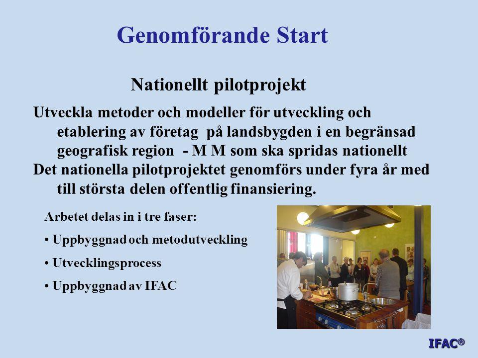 Genomförande Start Nationellt pilotprojekt Utveckla metoder och modeller för utveckling och etablering av företag på landsbygden i en begränsad geogra