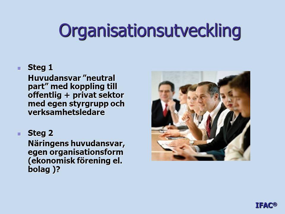 Organisationsutveckling Organisationsutveckling  Steg 1 Huvudansvar neutral part med koppling till offentlig + privat sektor med egen styrgrupp och verksamhetsledare  Steg 2 Näringens huvudansvar, egen organisationsform (ekonomisk förening el.