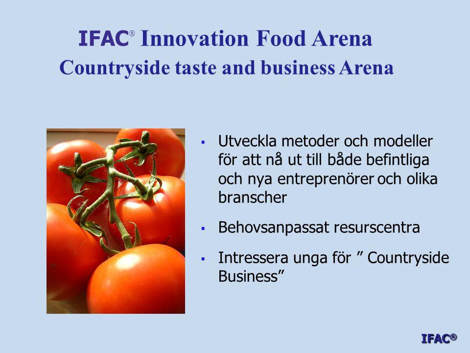   Utveckla metoder och modeller för att nå ut till både befintliga och nya entreprenörer och olika branscher   Behovsanpassat resurscentra   Intressera unga för Countryside Business IFAC ® Innovation Food Arena Countryside taste and business Arena IFAC ®