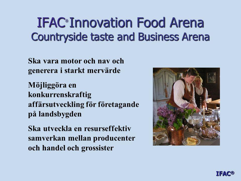 IFAC ® Innovation Food Arena Countryside taste and Business Arena Ska vara motor och nav och generera i starkt mervärde Möjliggöra en konkurrenskraftig affärsutveckling för företagande på landsbygden Ska utveckla en resurseffektiv samverkan mellan producenter och handel och grossister IFAC ®