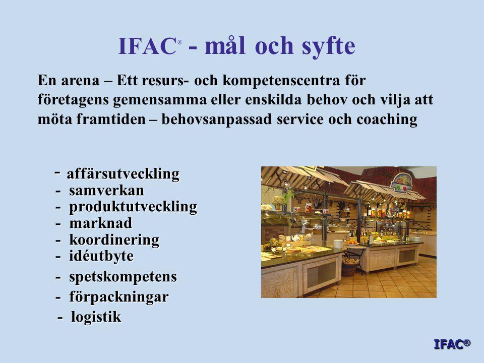 IFAC ® - mål och syfte ska IFAC ® ska - möjliggöra att smarta idéer blir verklighet - stödja utveckling av nya produkter - stödja utveckling av nya produkter - koordinera resurser för en positiv affärsutveckling och snabbare etablering på marknaden - koordinera resurser för en positiv affärsutveckling och snabbare etablering på marknaden - koordinera samverkan - koordinera samverkan mellan producenter, handel mellan producenter, handel grossister och konsumenter grossister och konsumenter Positiv utveckling för närproducerad mat- mat med mervärde – IFAC ®