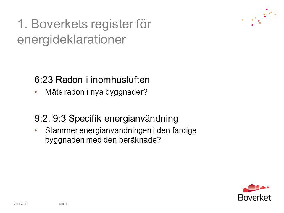 1. Boverkets register för energideklarationer 6:23 Radon i inomhusluften •Mäts radon i nya byggnader? 9:2, 9:3 Specifik energianvändning •Stämmer ener