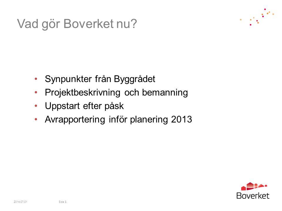 Vad gör Boverket nu? •Synpunkter från Byggrådet •Projektbeskrivning och bemanning •Uppstart efter påsk •Avrapportering inför planering 2013 2014-07-01