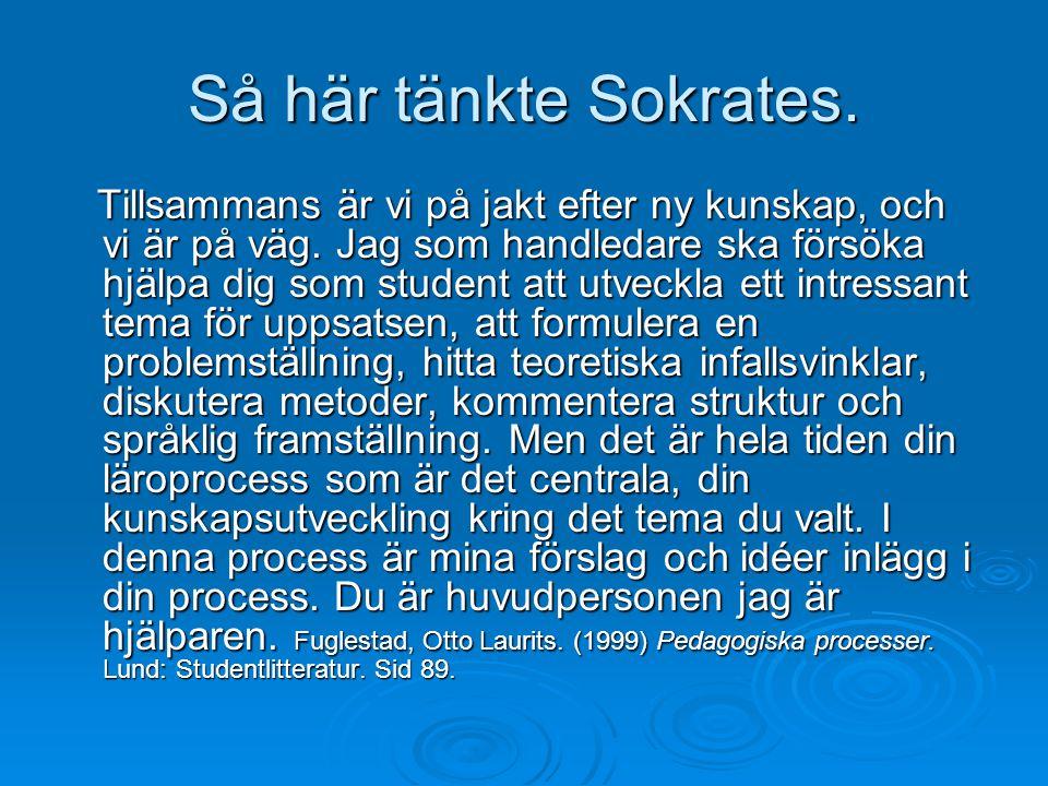 Så här tänkte Sokrates. Tillsammans är vi på jakt efter ny kunskap, och vi är på väg. Jag som handledare ska försöka hjälpa dig som student att utveck