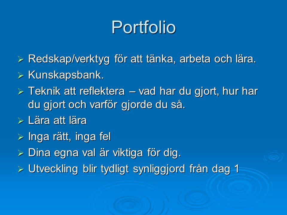 Portfolio  Redskap/verktyg för att tänka, arbeta och lära.  Kunskapsbank.  Teknik att reflektera – vad har du gjort, hur har du gjort och varför gj