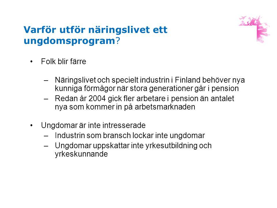 Varför utför näringslivet ett ungdomsprogram? •Folk blir färre –Näringslivet och specielt industrin i Finland behöver nya kunniga förmågor när stora g
