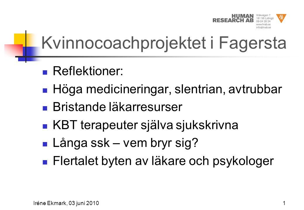 Kvinnocoachprojektet i Fagersta  Reflektioner:  Höga medicineringar, slentrian, avtrubbar  Bristande läkarresurser  KBT terapeuter själva sjukskrivna  Långa ssk – vem bryr sig.