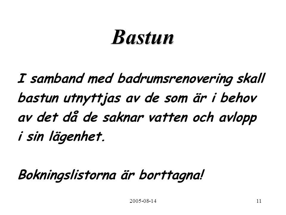 2005-08-1411 Bastun I samband med badrumsrenovering skall bastun utnyttjas av de som är i behov av det då de saknar vatten och avlopp i sin lägenhet.