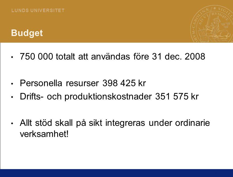 15 L U N D S U N I V E R S I T E T Budget • 750 000 totalt att användas före 31 dec. 2008 • Personella resurser 398 425 kr • Drifts- och produktionsko
