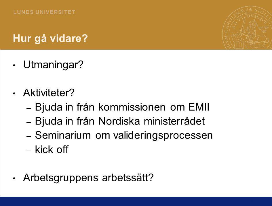 18 L U N D S U N I V E R S I T E T Hur gå vidare? • Utmaningar? • Aktiviteter? – Bjuda in från kommissionen om EMII – Bjuda in från Nordiska ministerr