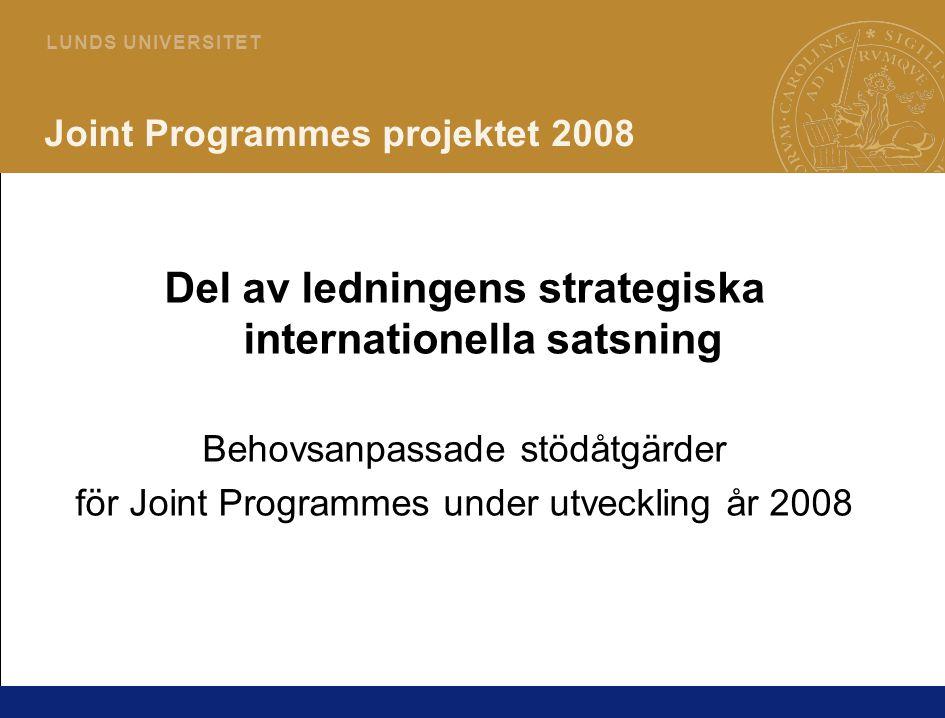 2 L U N D S U N I V E R S I T E T Joint Programmes projektet 2008 Del av ledningens strategiska internationella satsning Behovsanpassade stödåtgärder för Joint Programmes under utveckling år 2008