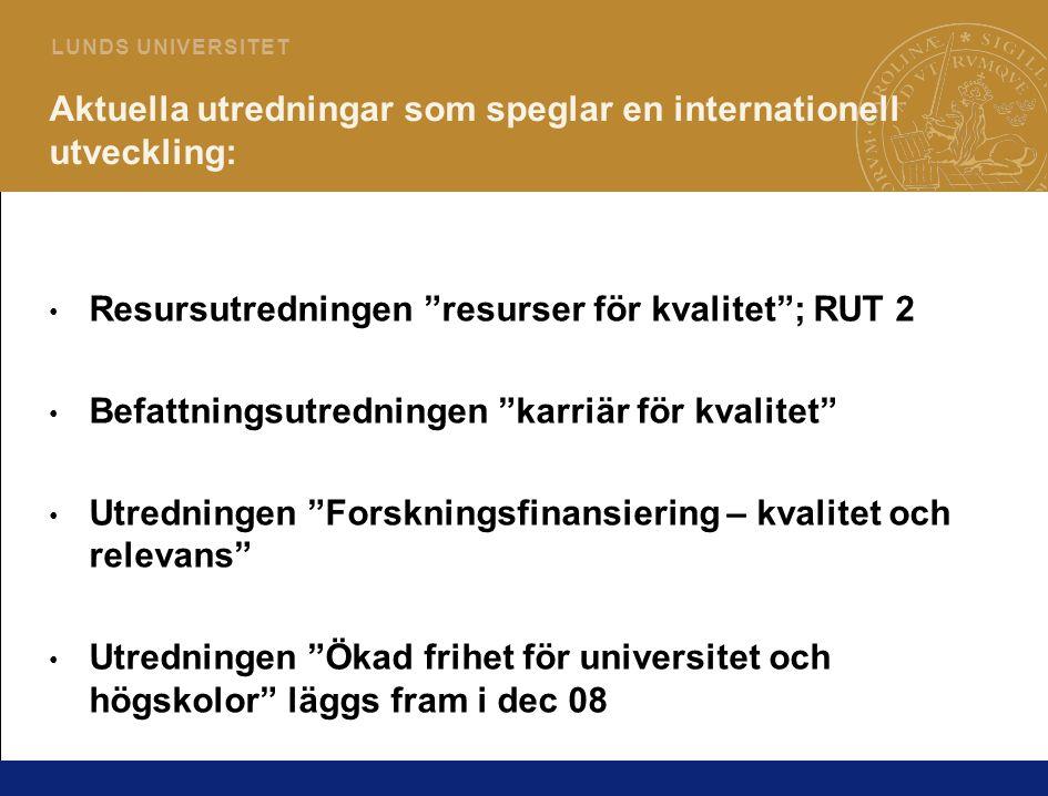 """3 L U N D S U N I V E R S I T E T Aktuella utredningar som speglar en internationell utveckling: • Resursutredningen """"resurser för kvalitet""""; RUT 2 •"""
