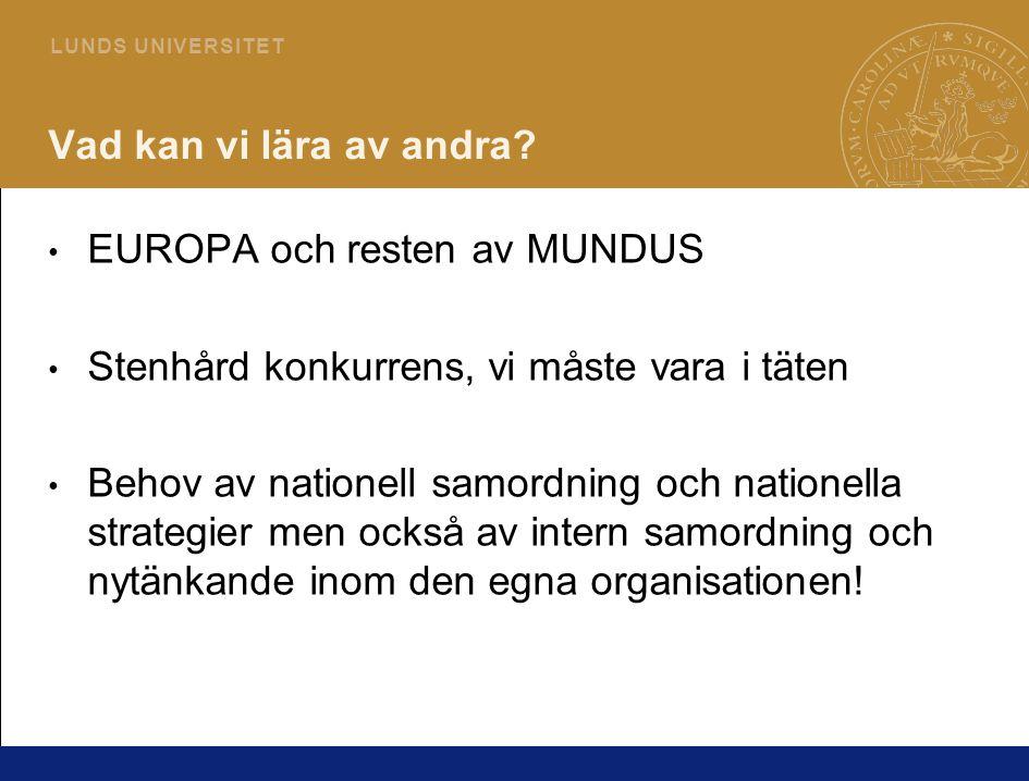6 L U N D S U N I V E R S I T E T Vad kan vi lära av andra? • EUROPA och resten av MUNDUS • Stenhård konkurrens, vi måste vara i täten • Behov av nati