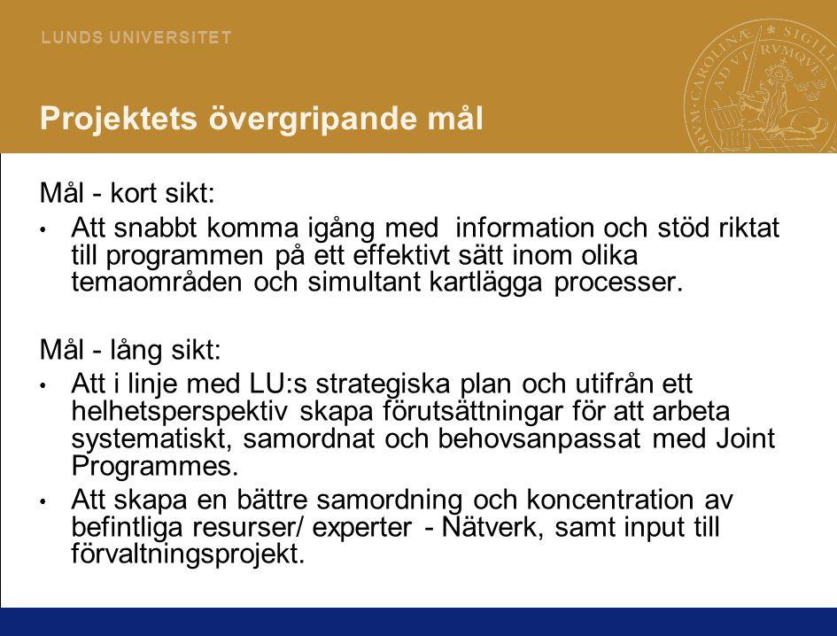 9 L U N D S U N I V E R S I T E T Projektets övergripande mål Mål - kort sikt: • Att snabbt komma igång med information och stöd riktat till programme