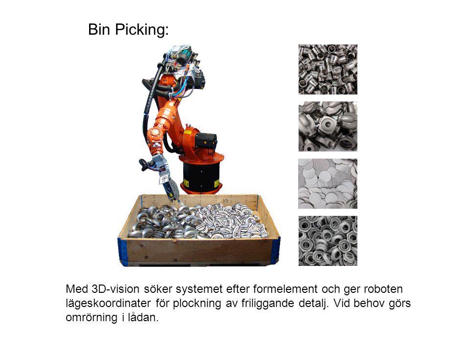 Bin Picking: Med 3D-vision söker systemet efter formelement och ger roboten lägeskoordinater för plockning av friliggande detalj. Vid behov görs omrör