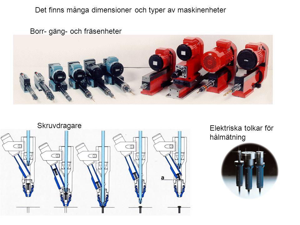 Det finns många dimensioner och typer av maskinenheter Borr- gäng- och fräsenheter Skruvdragare Elektriska tolkar för hålmätning