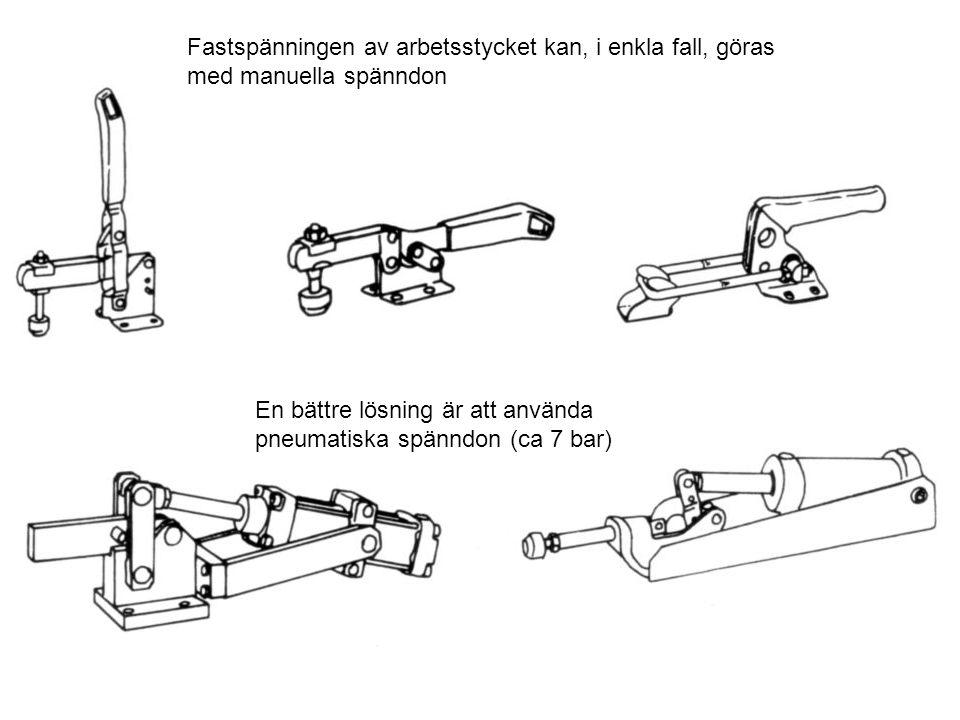 Fastspänningen av arbetsstycket kan, i enkla fall, göras med manuella spänndon En bättre lösning är att använda pneumatiska spänndon (ca 7 bar)