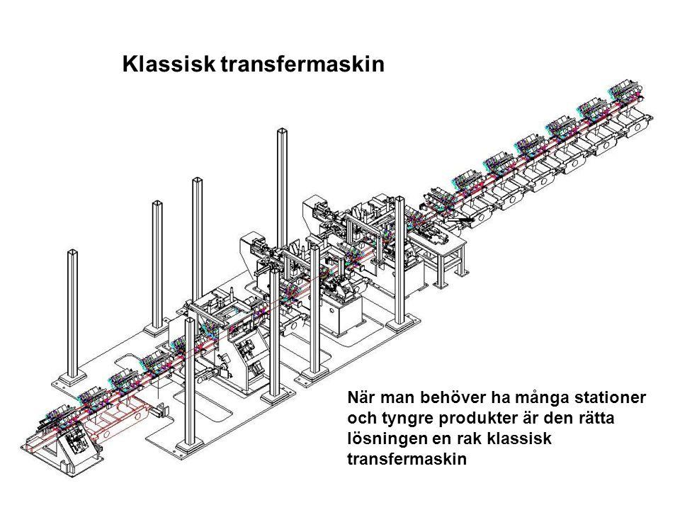Klassisk transfermaskin När man behöver ha många stationer och tyngre produkter är den rätta lösningen en rak klassisk transfermaskin