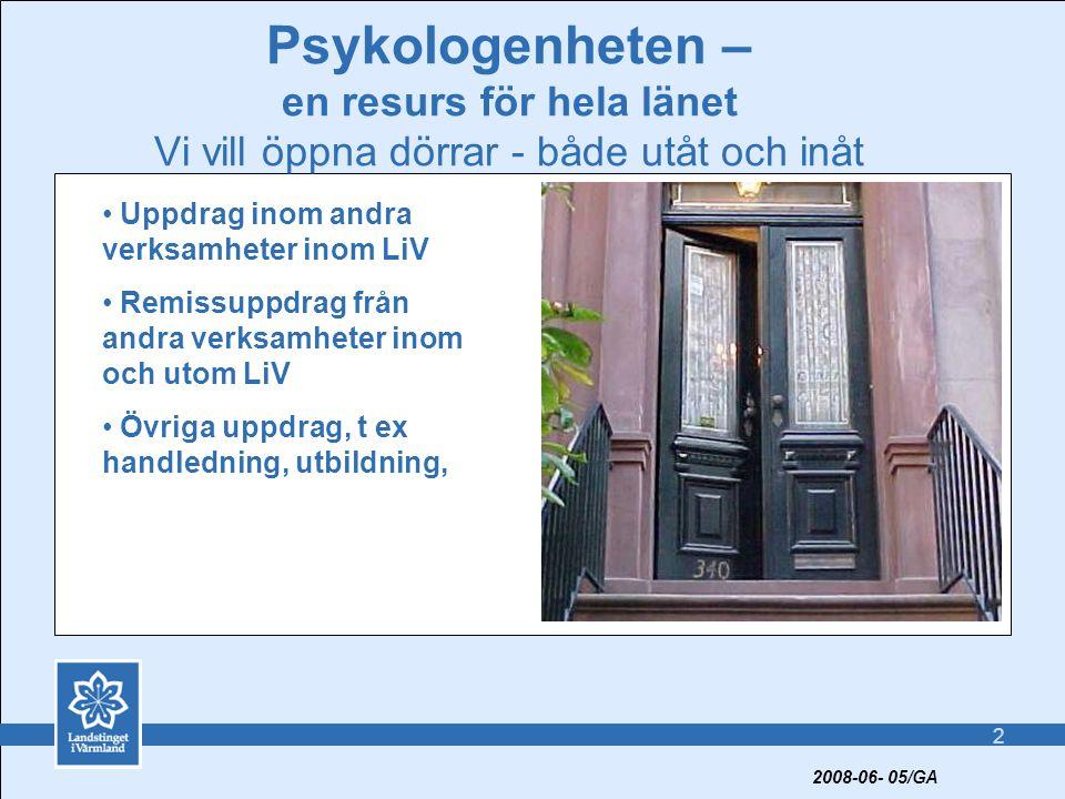 2 Psykologenheten – en resurs för hela länet Vi vill öppna dörrar - både utåt och inåt • Uppdrag inom andra verksamheter inom LiV • Remissuppdrag från andra verksamheter inom och utom LiV • Övriga uppdrag, t ex handledning, utbildning, 2008-06- 05/GA