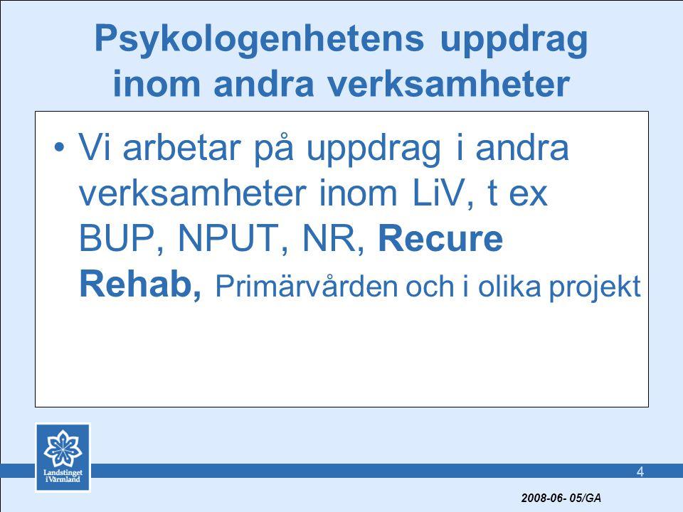 4 Psykologenhetens uppdrag inom andra verksamheter •Vi arbetar på uppdrag i andra verksamheter inom LiV, t ex BUP, NPUT, NR, Recure Rehab, Primärvården och i olika projekt 2008-06- 05/GA